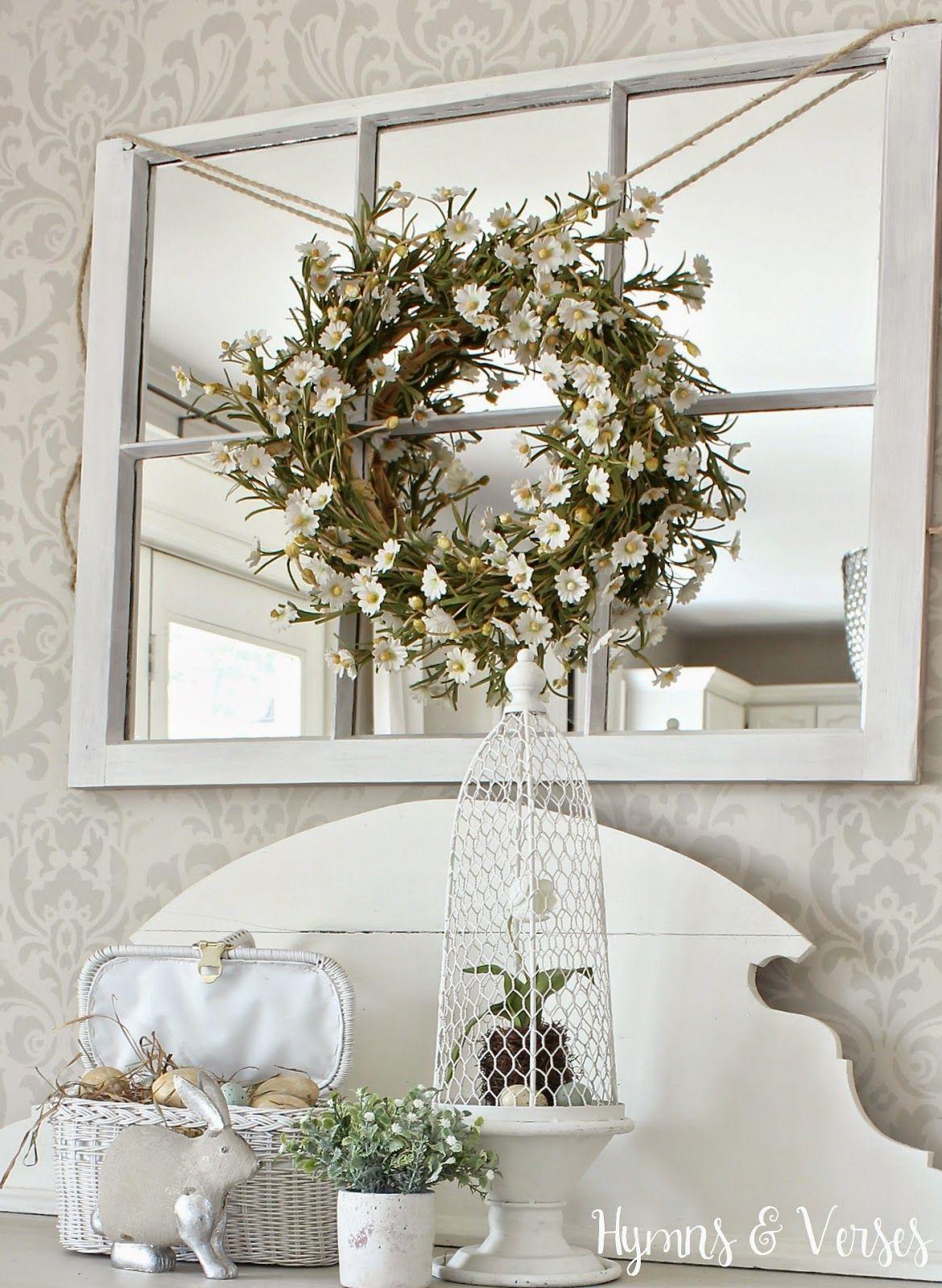 Cottage Style Spring Vignette Window Mirror Decor Window Mirror Window Pane Decor