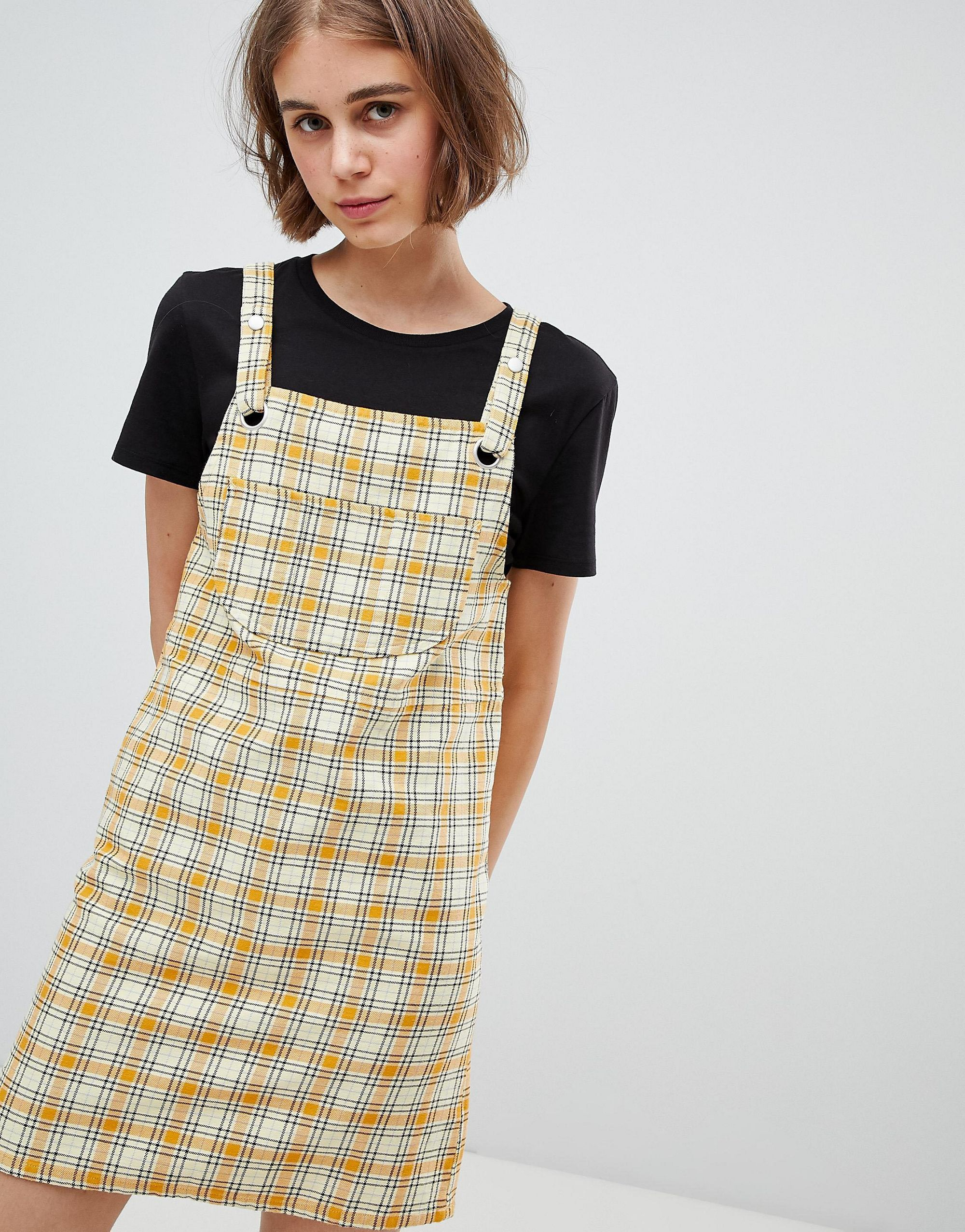 attractive price drop shipping picked up Monki Check Mini Dungarees Dress in Yellow | Clothing in ...