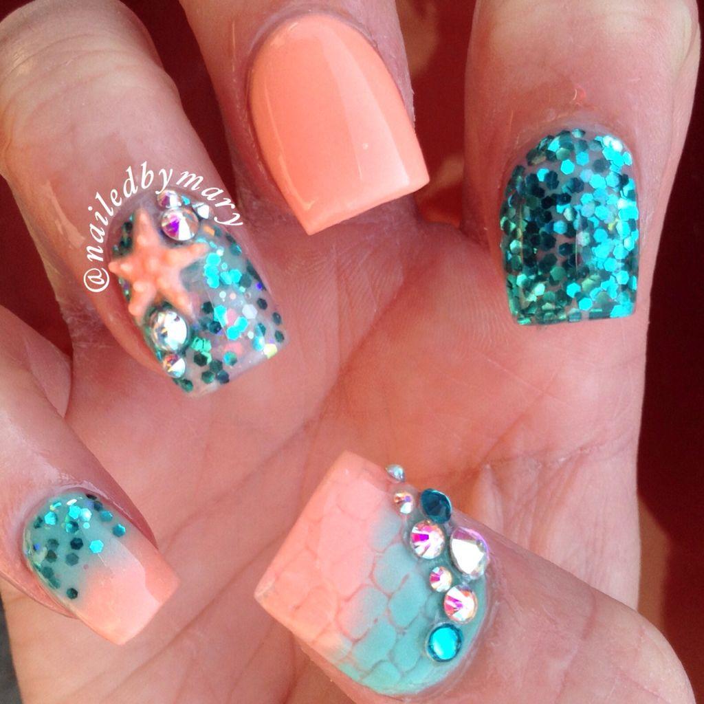 Mermaid Nail Art Adorable: Mermaid Sea Ocean Beach Teal Glitter Starfish Swarovski