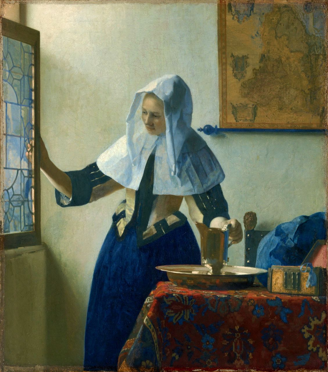 Young Woman with a Water Pitcher, 1662, Johannes Vermeer.