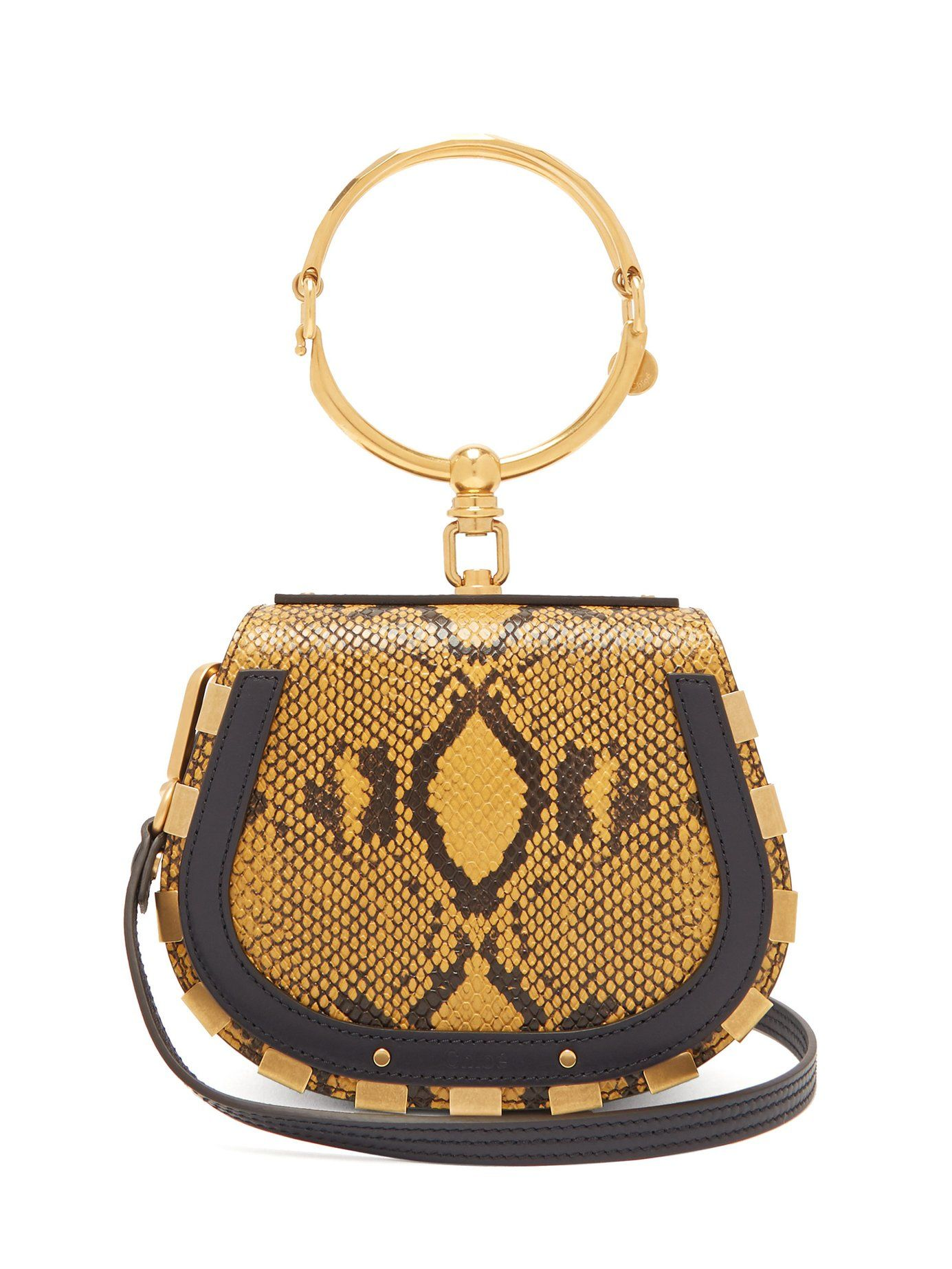 Nile small leather and suede crossbody bag Chloé