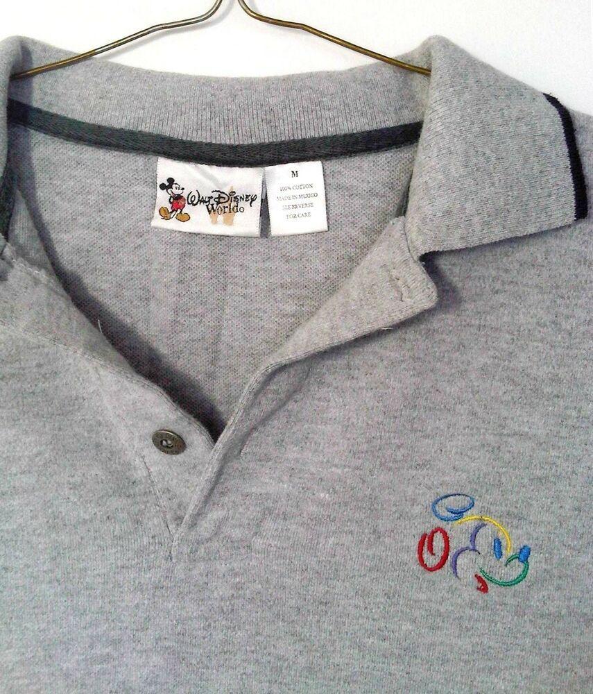 3d422e03 Walt Disney World Polo Shirt Mickey Mouse WDW collectible Grey & Black  Medium #WaltDisneyWorld
