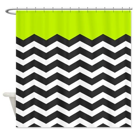 Lime Green Black And White Chevron Shower Curtain By