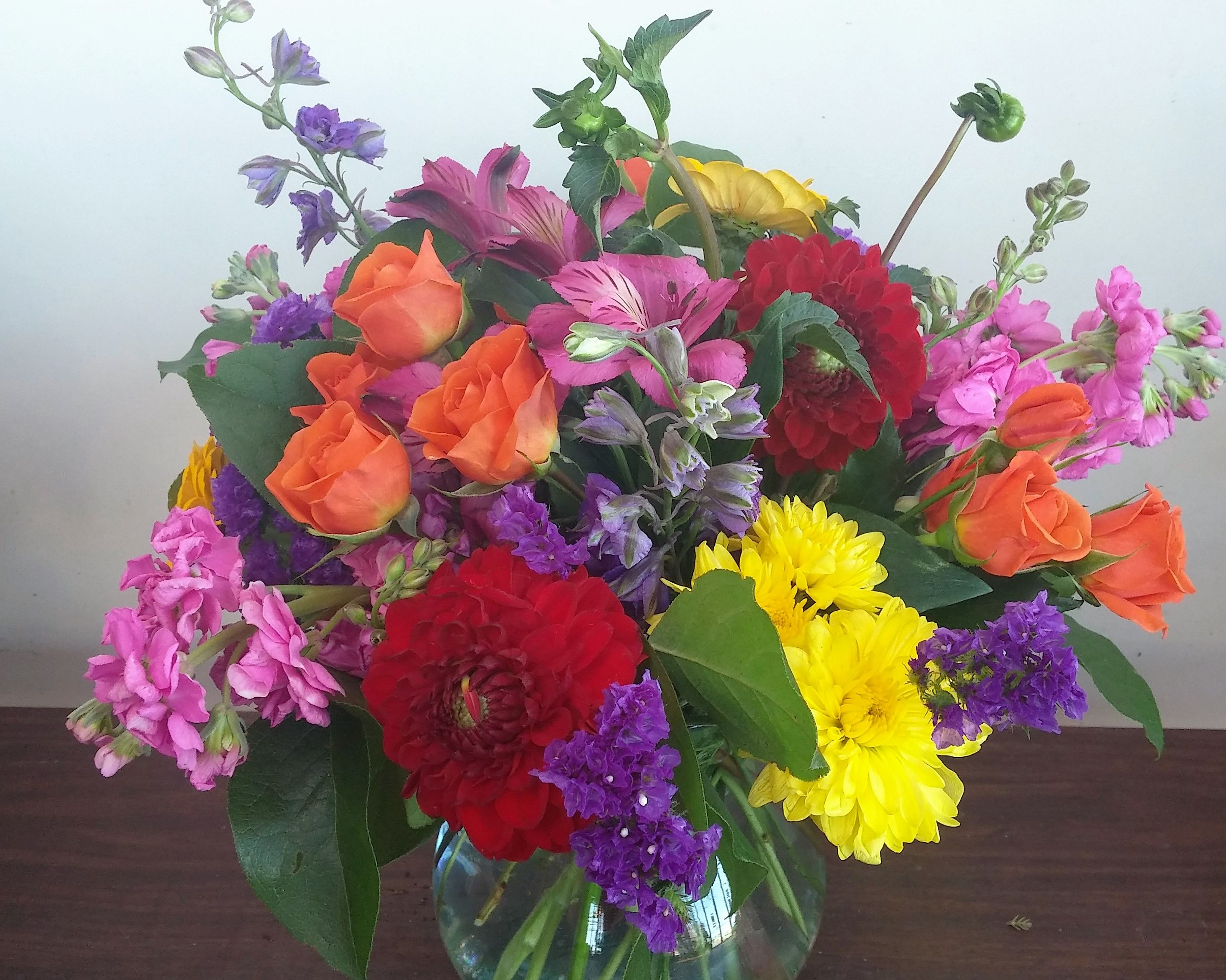 Bright colorful mix of flowers. Perfect to brighten someones day ...