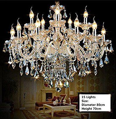 ZEARO Kristall Kronleuchter Wohnzimmer Anhänger Und Kronleuchter Hause  Beleuchtung Innen Lampe (15 Lights Glod
