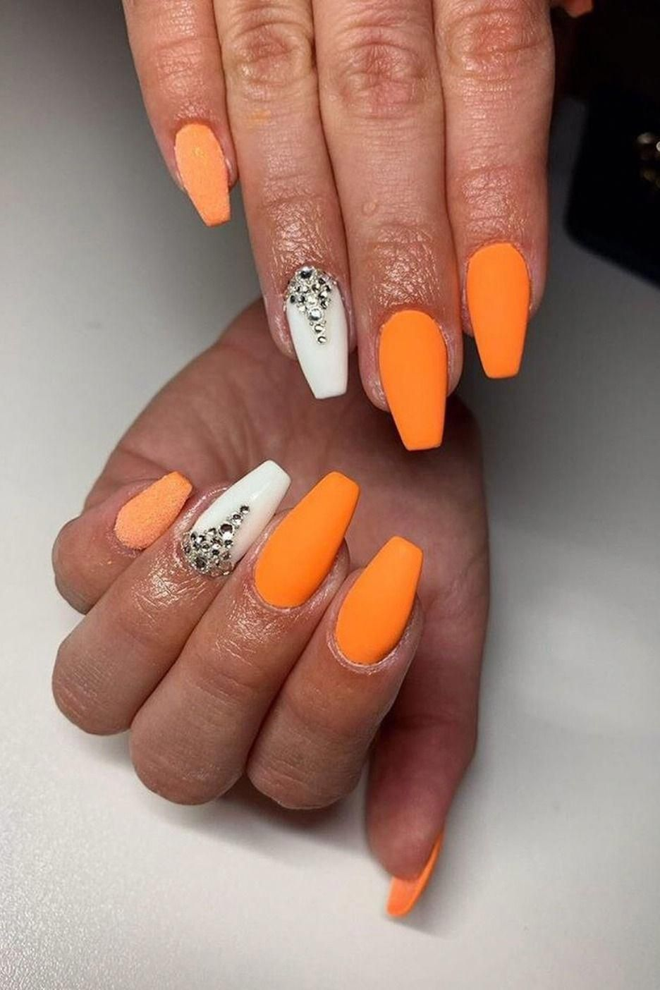 Amazing Neon Orange Coffin Nails Design With White Accent Nail Adorned With Rhinestones For Summertime 2019 Sun In 2020 Coffin Nails Designs Nail Designs Accent Nails