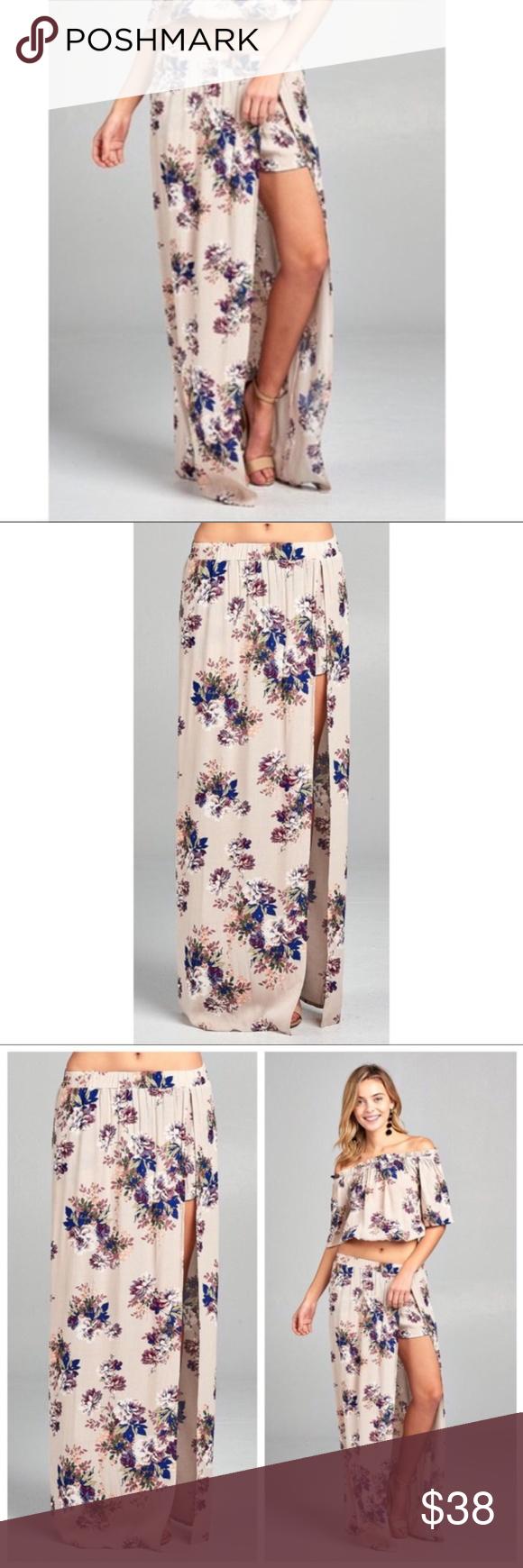 Hpfloral maxi skirt wshorts boutique my posh picks