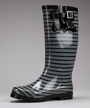 Take a look at this Charcoal Stripe Rain Boot by Chooka on #zulily today!