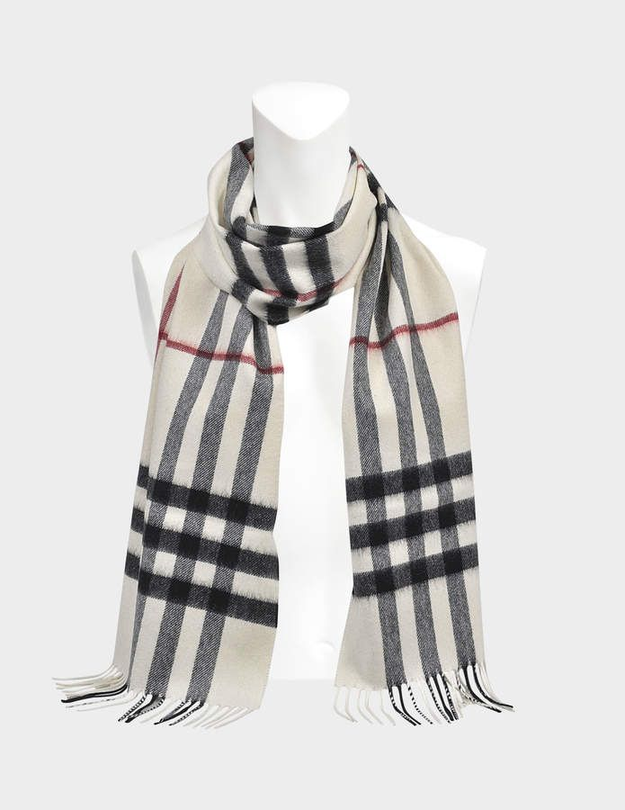 Burberry 168X130 Giant Icon Scarf in White Cashmere  250fc430efb29