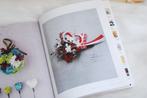 New Years decoration preserved flower  プリザーブドフラワーでつくるお正月の壁飾り