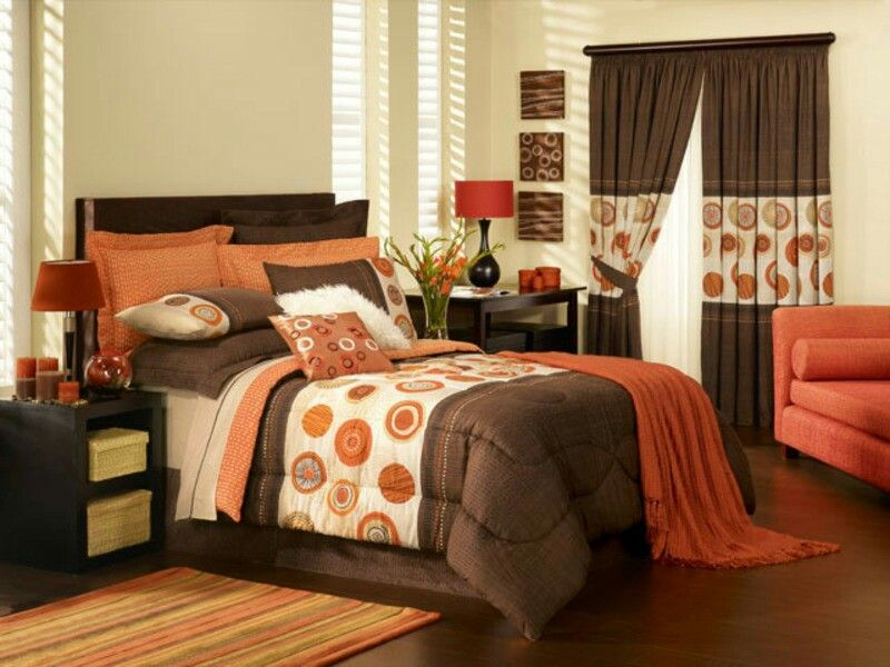 c3b5827f2e5 Orange   Brown Bedroom Bed