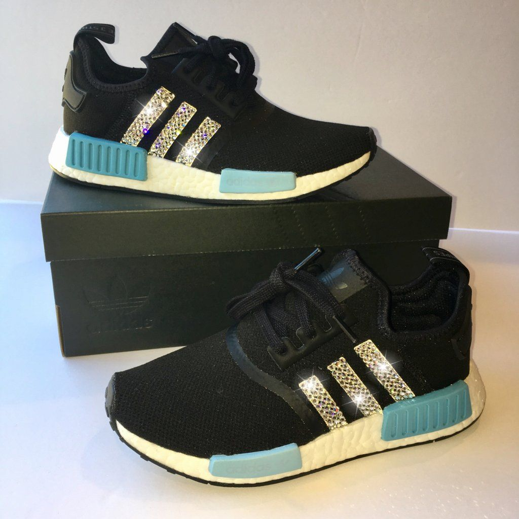 NEW Bling Adidas NMD with Swarovski Crystals   Women s Originals NMD R1  Runners Casual Shoes   Black   Blue 0dc091d88