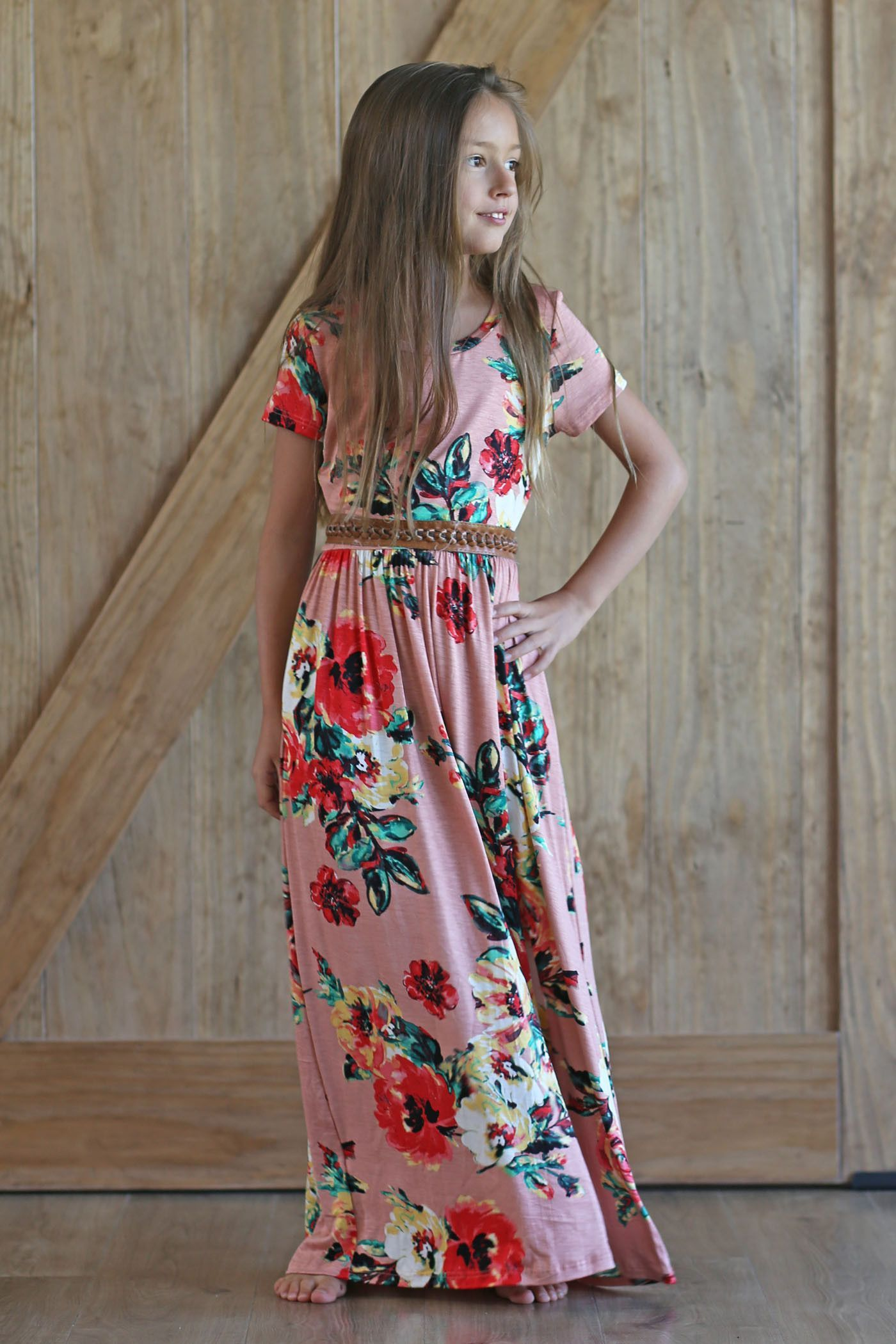 Haileyu just like mommy floral long maxi dress for girls products