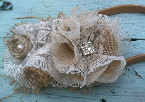 Burlap, Linen, Lace, Ruffled Lace, Fabric Fabric Flower Headband, Rustic, Vintage, Girls Headband, Women's, Bridal Hair Piece, Handmade, Tan on Etsy, $16.50
