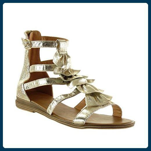 Angkorly Damen Schuhe Sandalen Mule - Römersandalen - Fransen - Multi-Zaum - String Tanga Blockabsatz 2.5 cm - Blau 5688-2 T 38 TkR28Q3