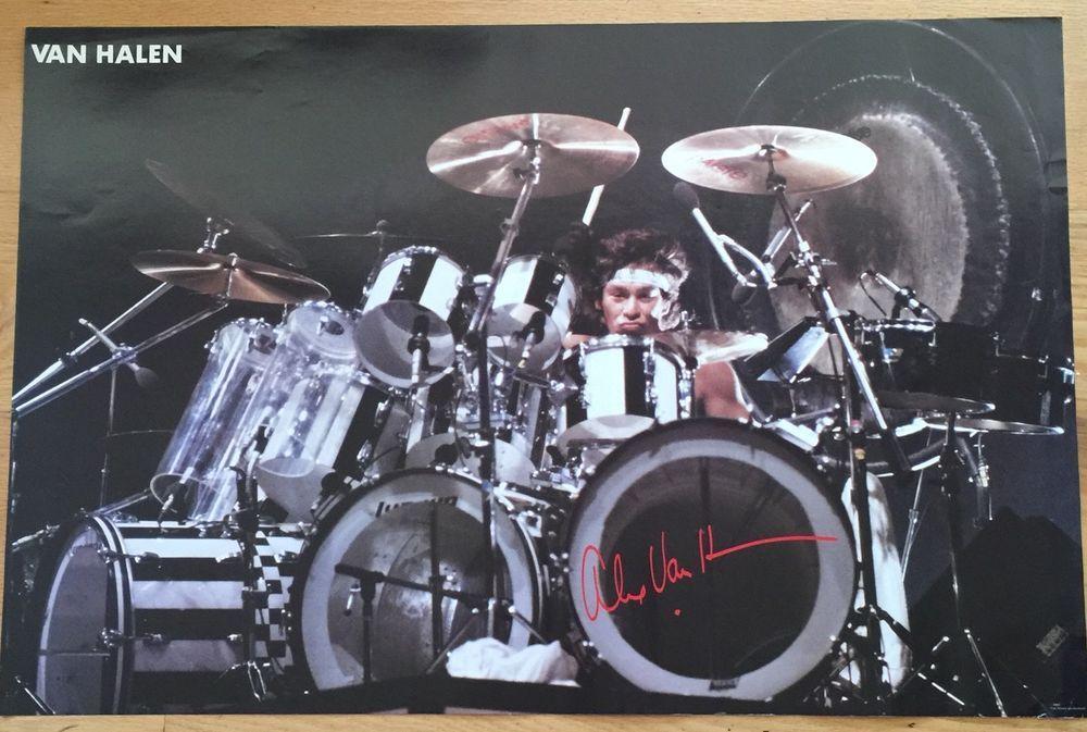 Alex Van Halen 1983 Original Promo Drumming On Stage Poster 23 X 35 Alex Van Halen Drums Van Halen
