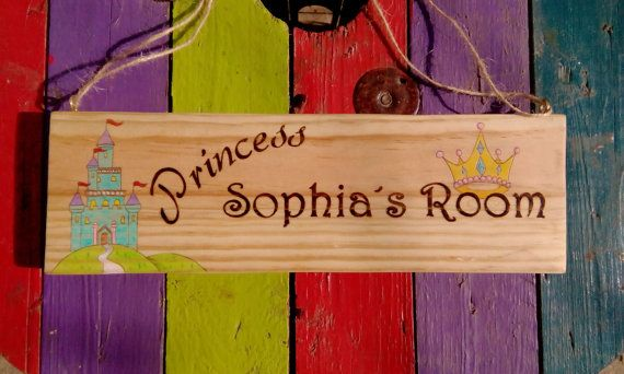 Princess door sign wooden personalized name plaque girls gift by ...