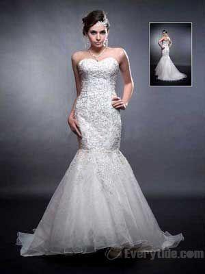 Wholesale 2013 Delicate Trumpe Mermaid Sweetheart Floor-length Organza Ivory Wedding Dresses$207.99