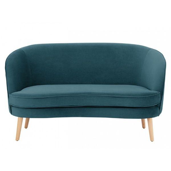 2 Zits Bank Design.Gertie 2 Zitsbank Staalblauw Fluweel Design Banken 2 Seater Sofa