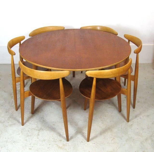 Rare 1950s Hans Wegner Heart Tripod Table Teak Round Mid Etsy