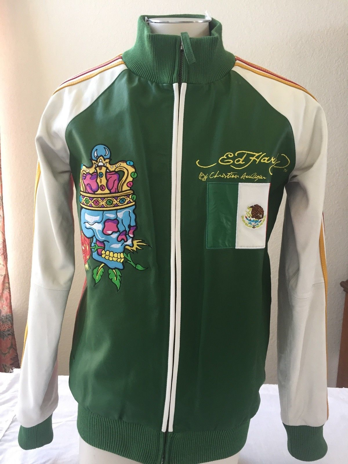 Details about Rare Ed Hardy Leather bomber jacket Mexican