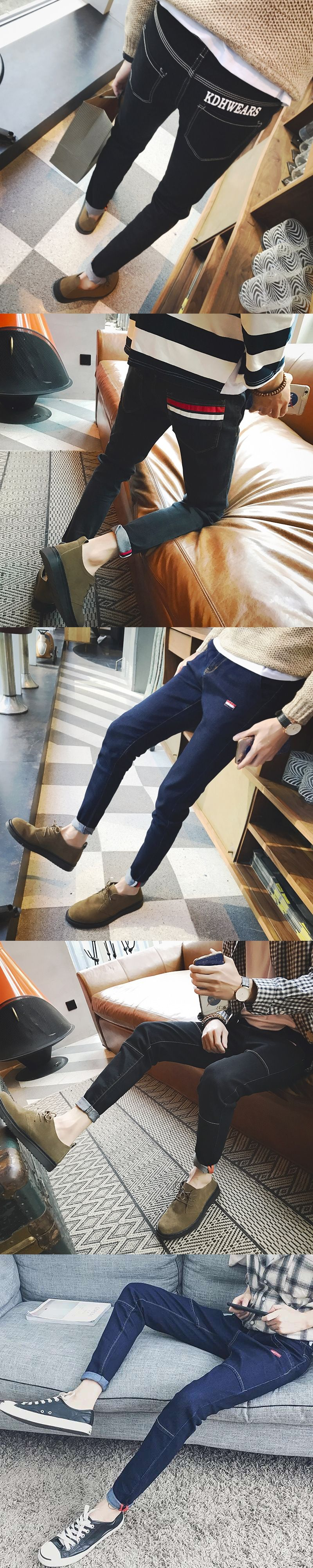 Fashion 2017 Spring Autumn Students Hip Hop City Street Stripe jeans Man young Men s Casual Ankle