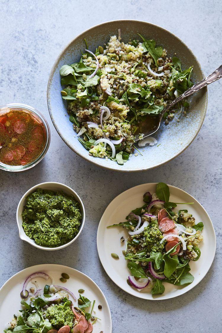Cauliflower Lentil Grain Salad With Pumpkin Seed Pesto
