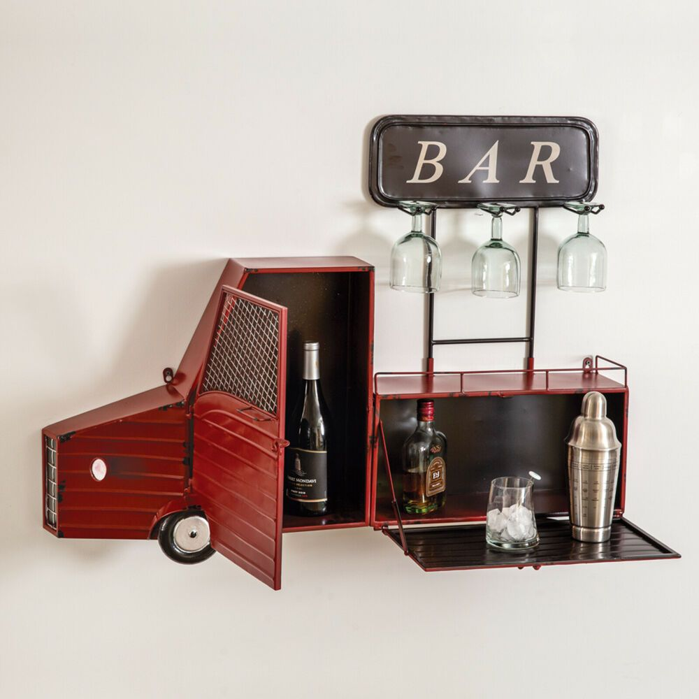 Unique Country Farmhouse Hanging Wall Truck Wine Bar And Glass Holder Metal Red Unbranded Farmhouse In 2020 Glass Holders Wine Bar Unique Wall Decor