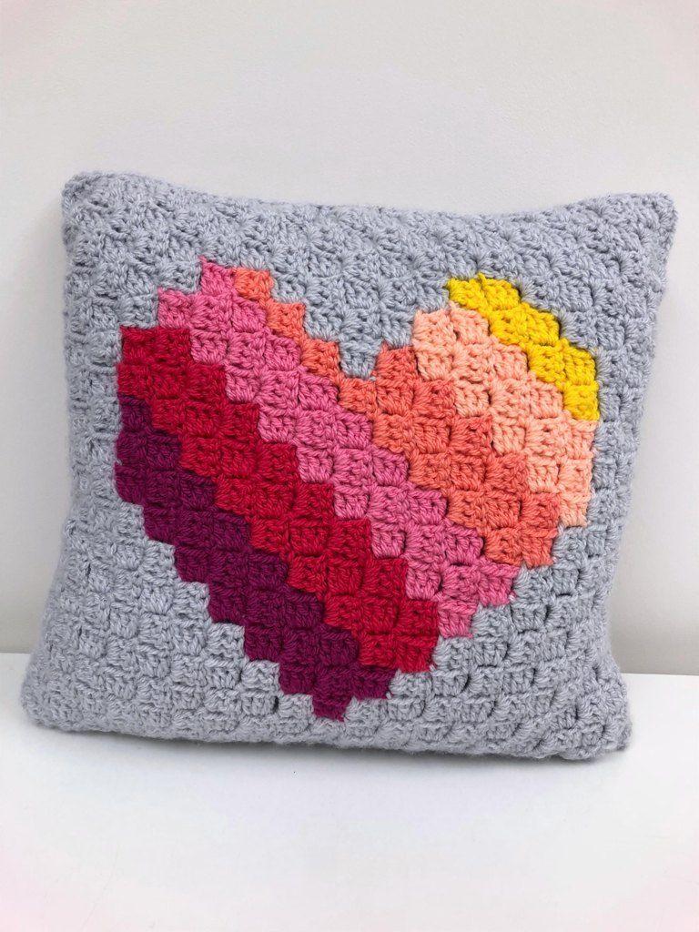 Love Heart C2c Cushion Crochet Pattern By Jellybean Junction Crochet Pillow Pattern Crochet Cushion Cover Crochet Pillow Cover
