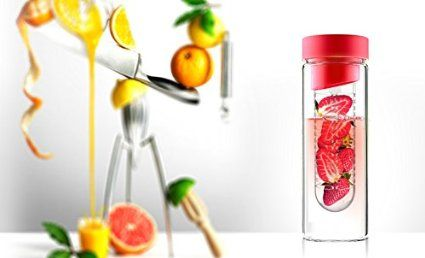 AdNArt Flavour It Glass Water Bottle with Fruit Infuser, Smoke/Silver lid: Amazon.ca: Home & Kitchen