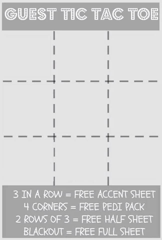 Blank Guest Tic Tac Toe board Fill in the squares with your own