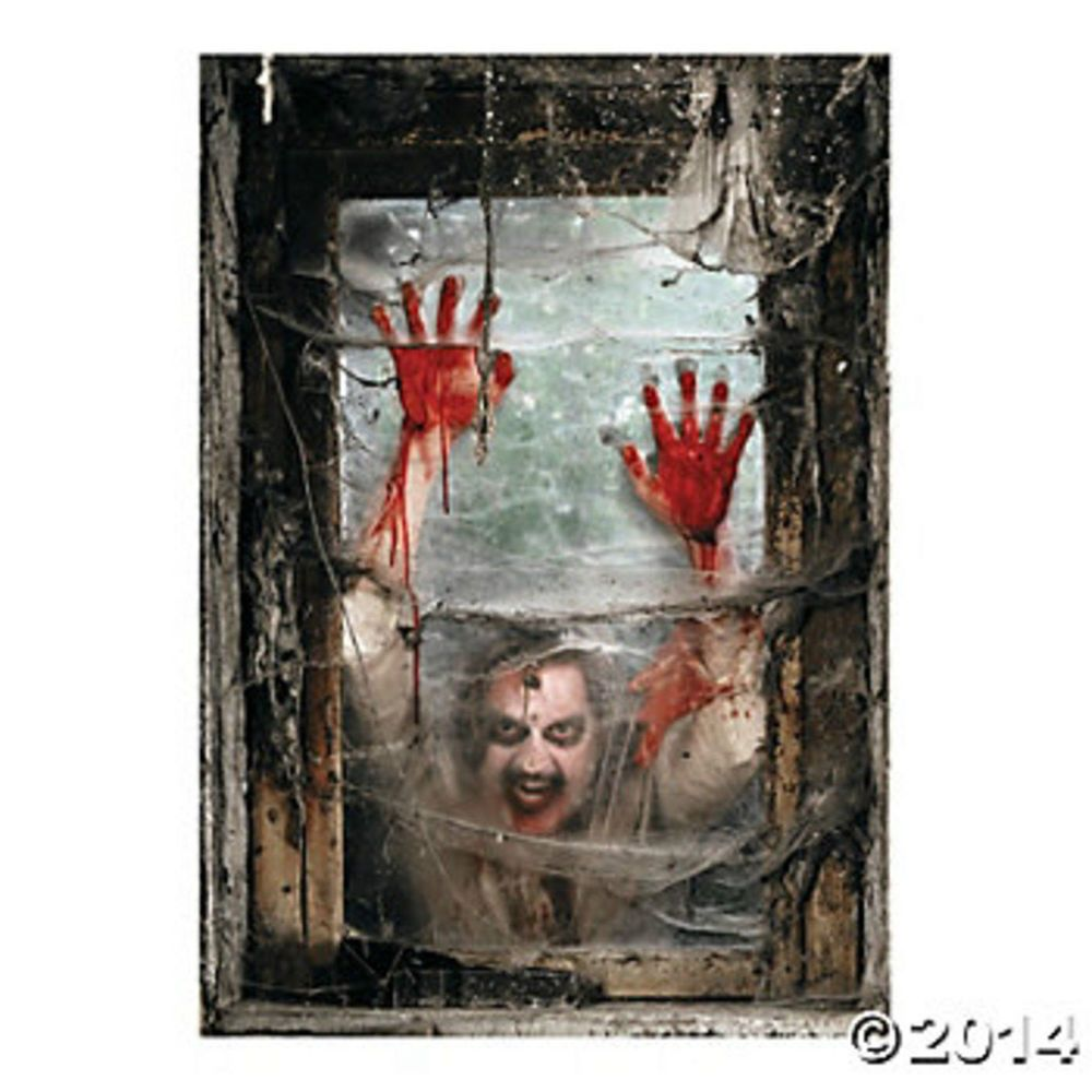 HALLOWEEN Party Decoration Prop ZOMBIE Walking Dead Window BACKDROP Mural Banner #FX
