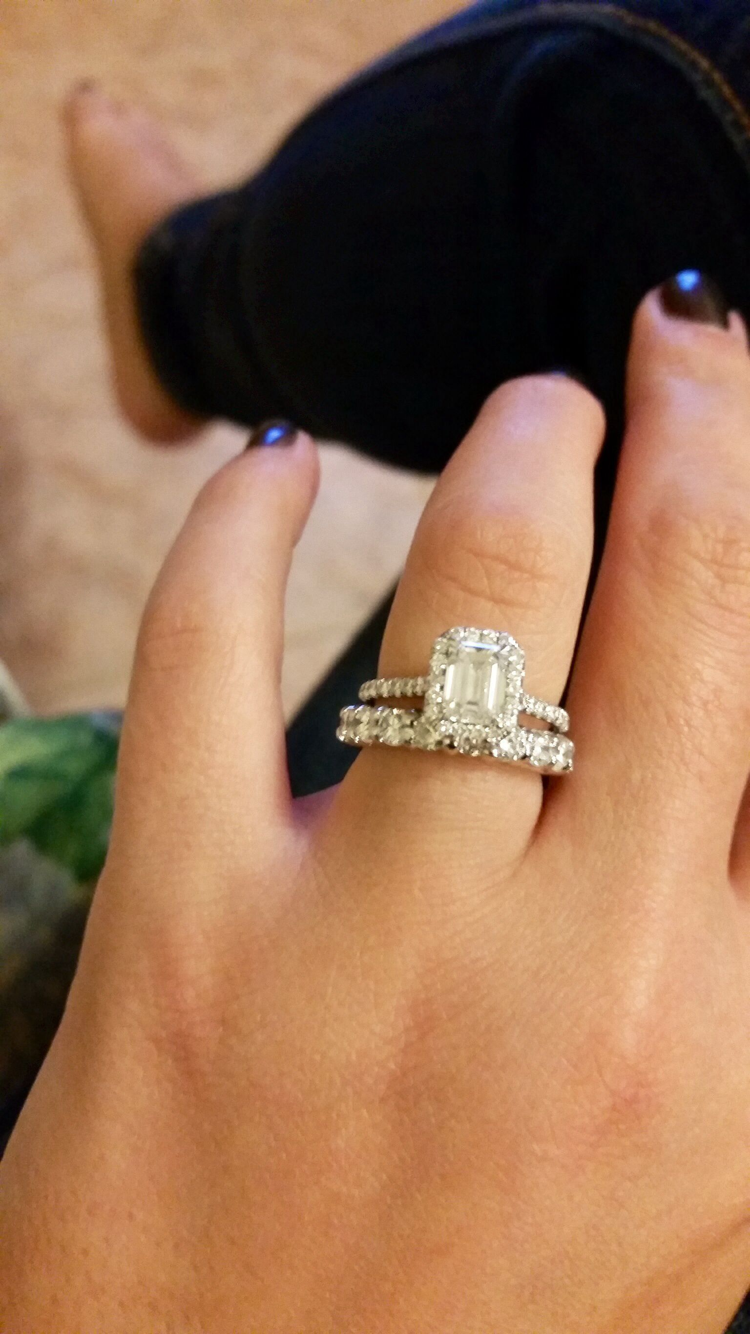 Cathedral engagement ring with thick wedding band gap Bling