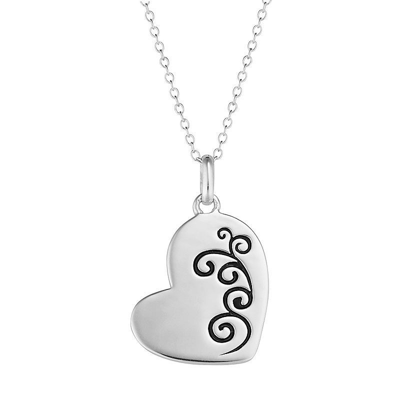 "Sterling Silver Memorial Heart Pendant Necklace, Women's, Size: 18"", Grey"