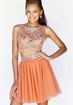 Natural Waist Mini-length V-back Prom Dress - Promdresshouse.com