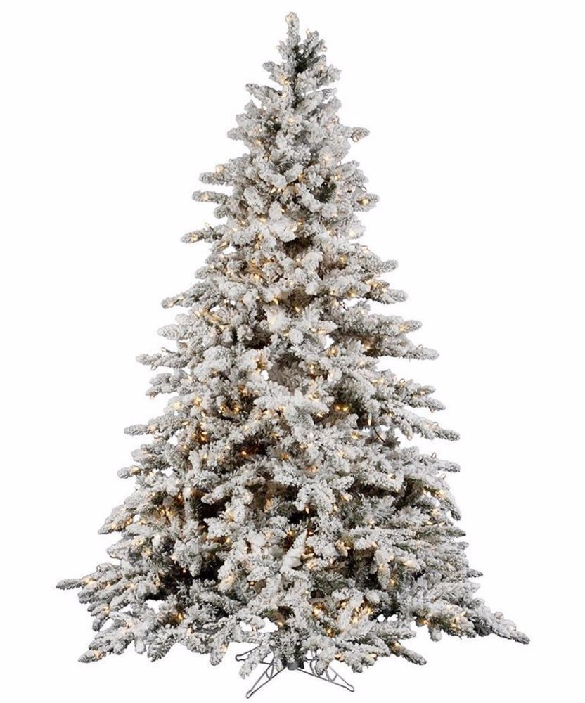 9 Ft Pre Lit Christmas Tree Flocked White On Green Holiday 1200 Clear Lights Unlit Christmas Trees Flocked Artificial Christmas Trees Flocked Christmas Trees