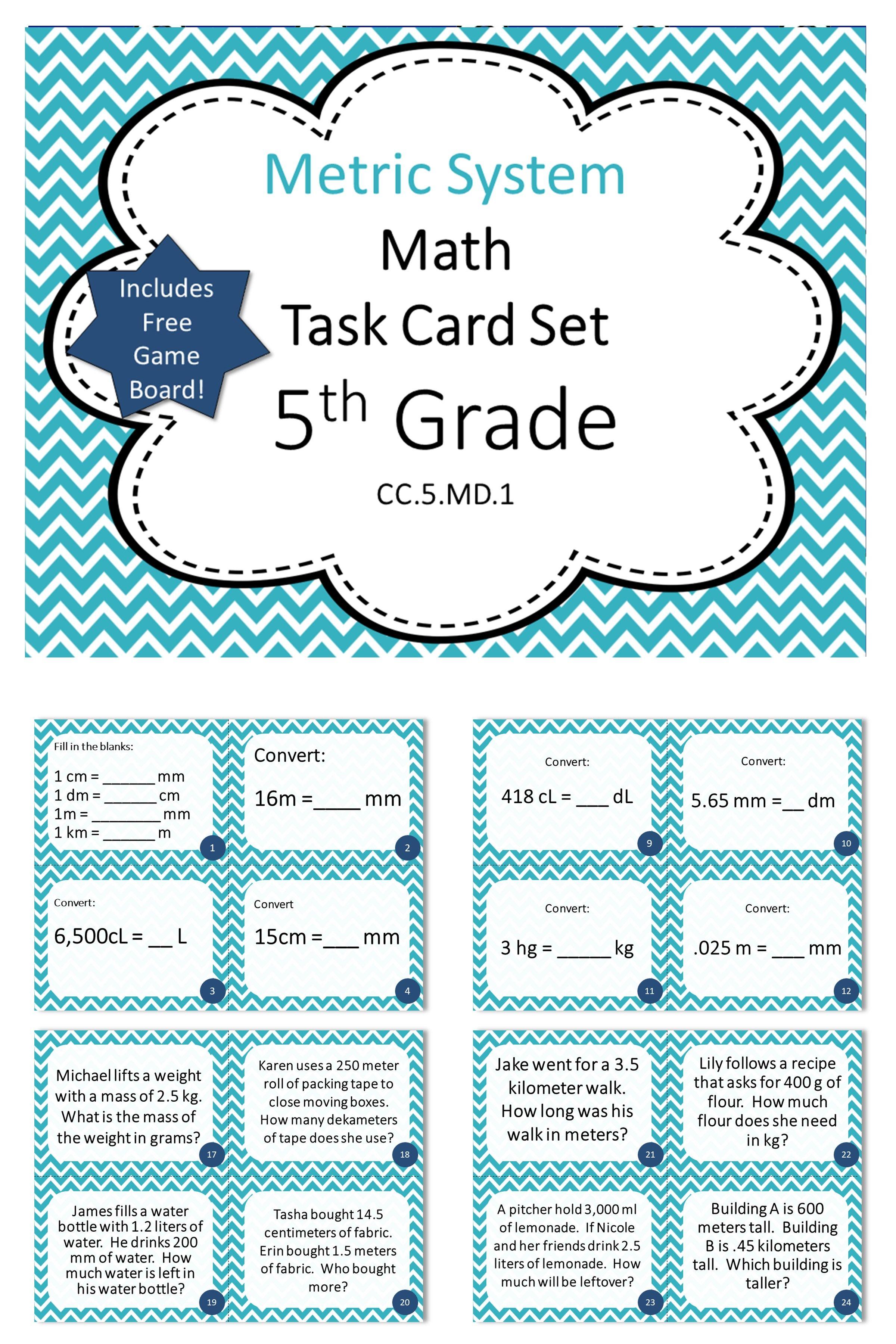5th Grade Metric System Math Task Cards