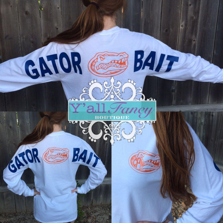 Gator Bait Florida Gators White Comfort Colors Monogrammed Tee Long Or Short Sleeve