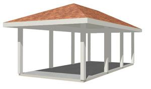 Hip roof carport plans is the roof a rafter construction for Hip roof carport plans