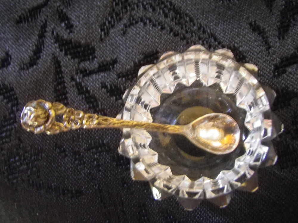 Antique Salt Cellar With Spoon