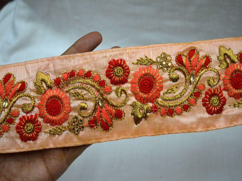 Stunning Indian Trim Colourfrul Lace Ribbon Sewing Craft Sari Border by 1 Yard