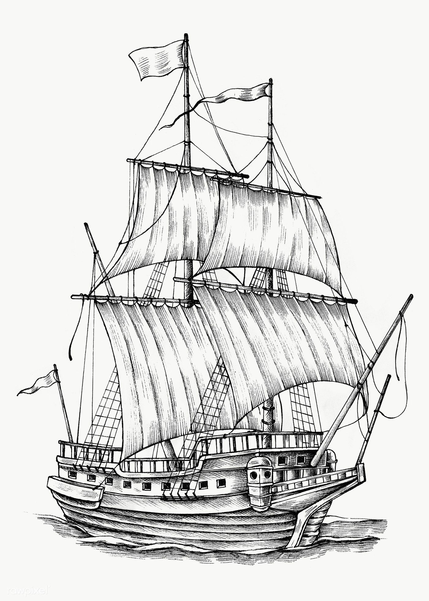 Hand Drawn Sailing Boat Transparent Png Free Image By Rawpixel