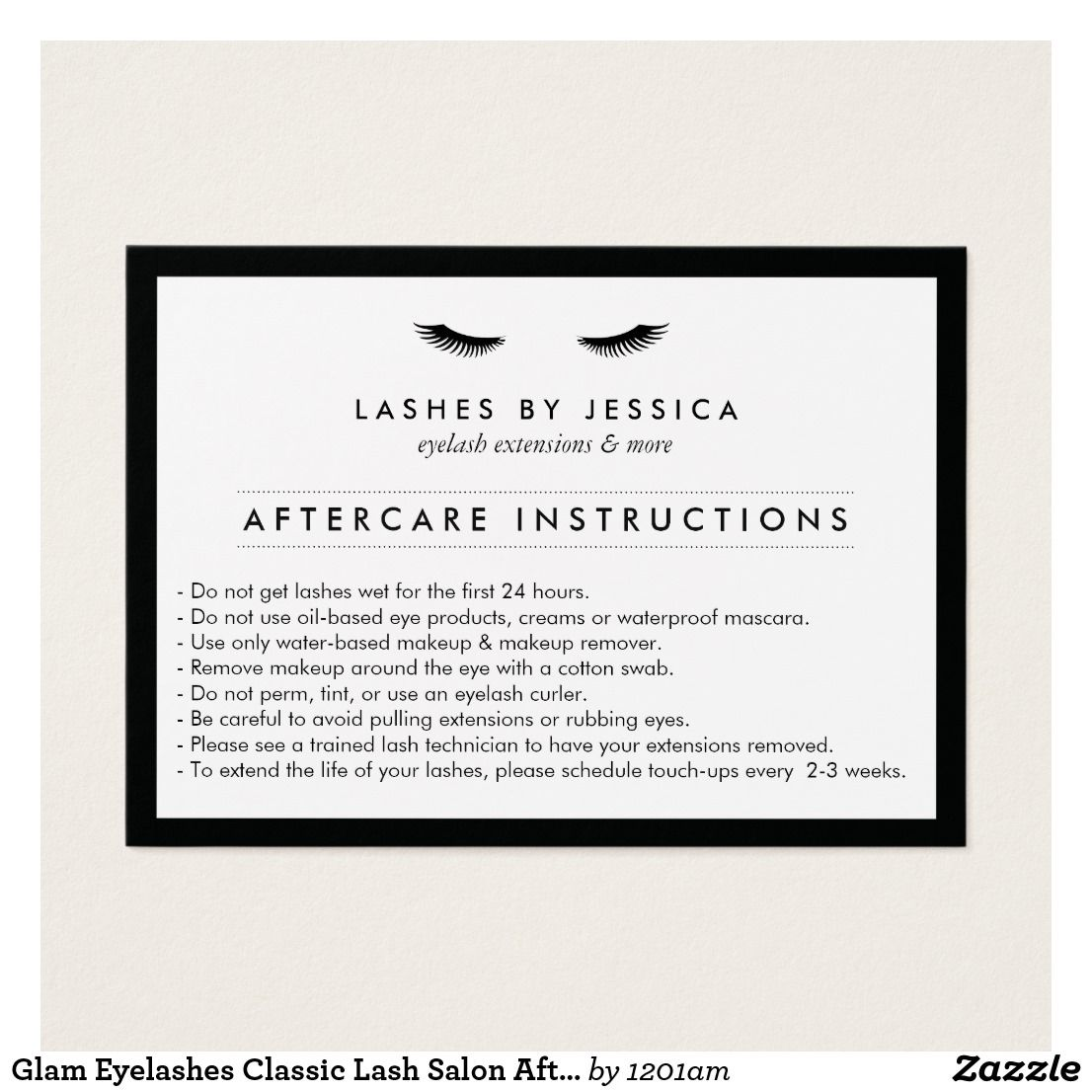 Glam Eyelashes Classic Lash Salon Aftercare Card - Personalize for ...