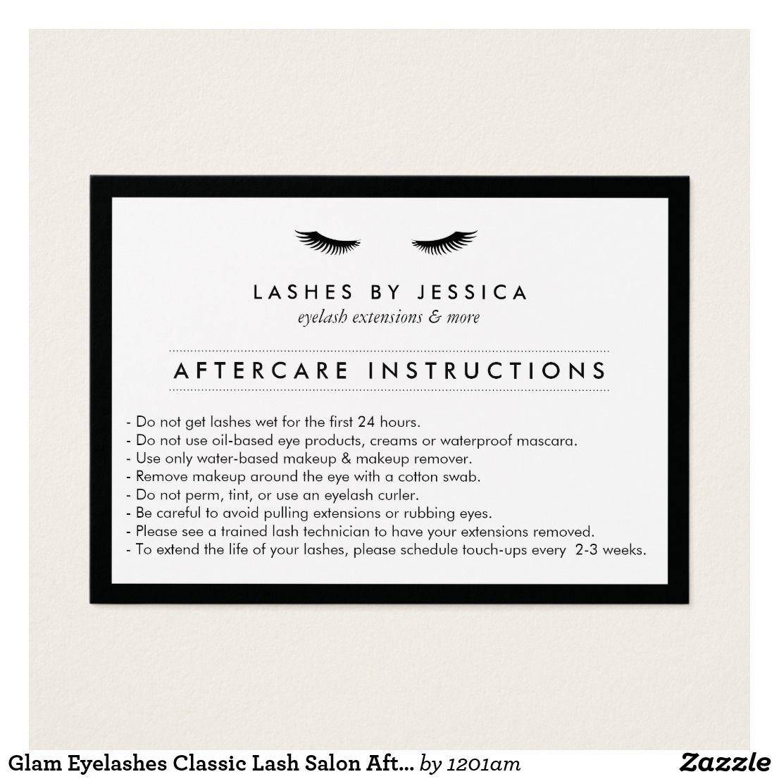 Glam Eyelashes Classic Lash Salon Aftercare Card My Home Studio