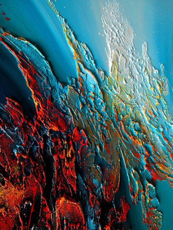 tableau abstrait contemporain  u0026quot shaula u0026quot  toile peinture moderne en relief noir bleu turquoise