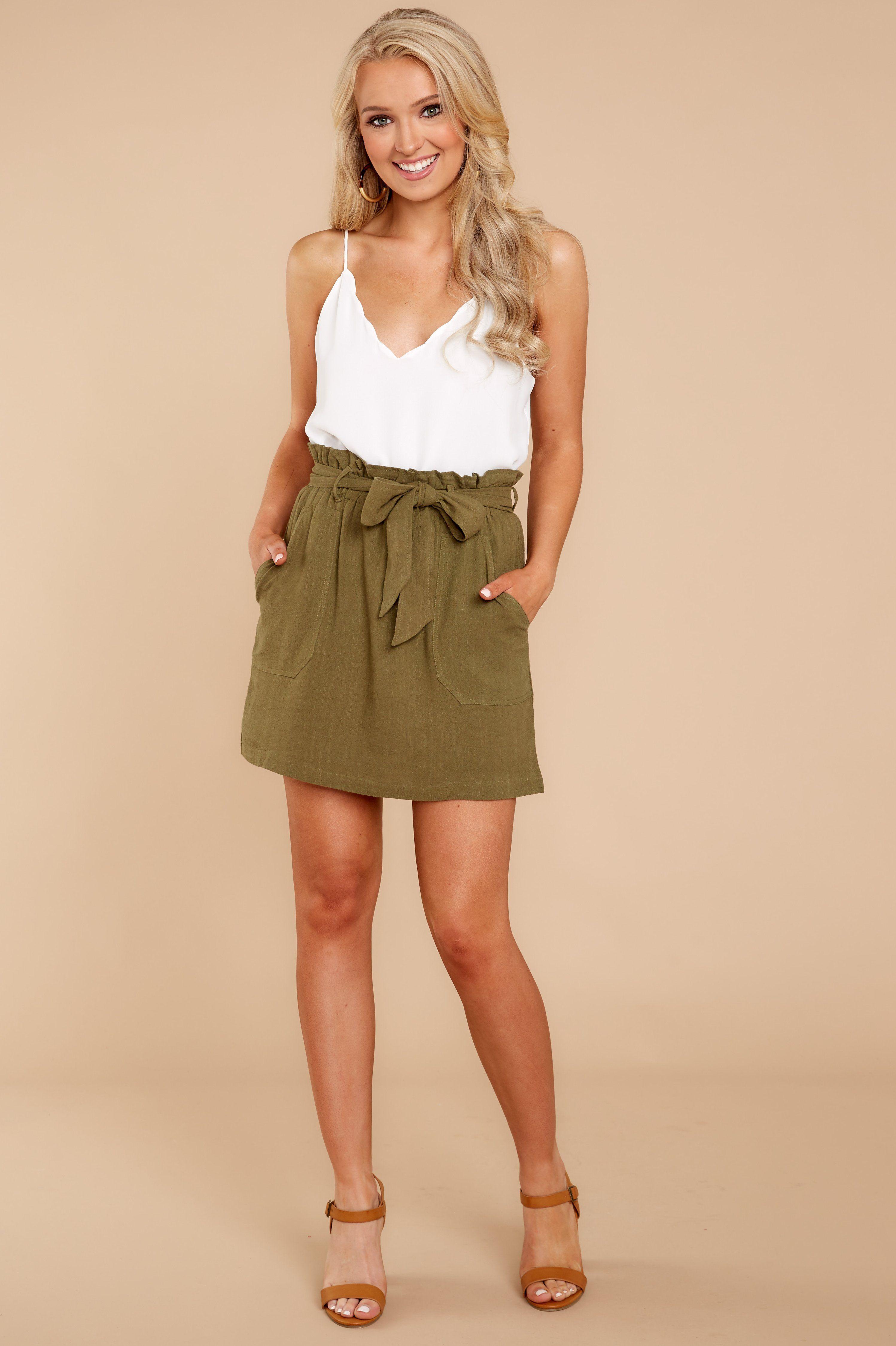 5ff64ddd67 Trendy Olive Green Skirt - Chic Olive Skirt - Skirt -$38.00 – Red Dress  Boutique