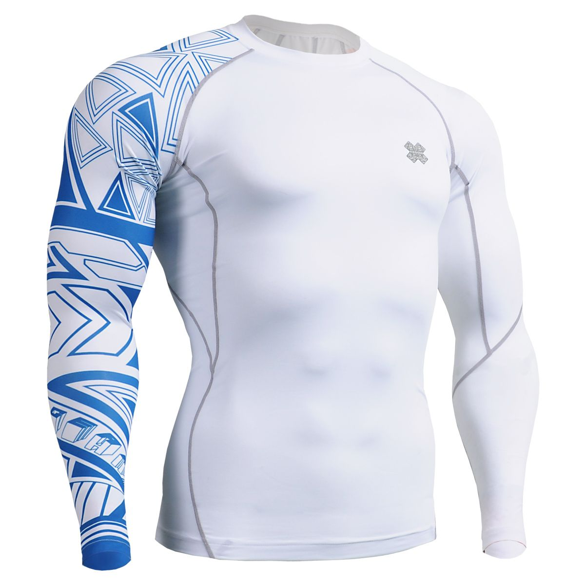 Mens Sports Long Sleeve Compression Base Layer Top Fitness Running Gym Wear mma