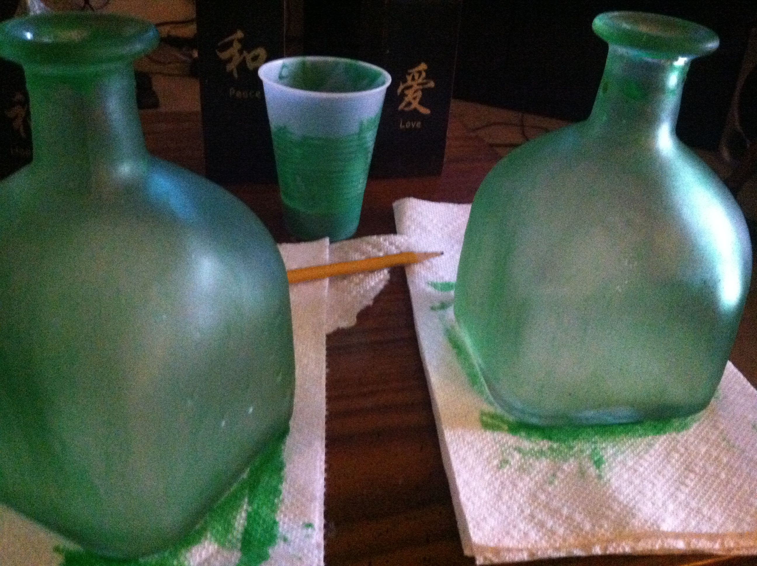 Attempt number two at Elmer\'s glue and food coloring milk glass ...