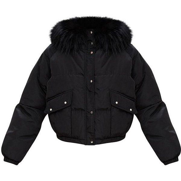 5753286b810 Black Cropped Puffer Jacket with Faux Fur Hood ($70) ❤ liked on Polyvore  featuring outerwear, jackets, puffer jacket, faux fur hood jacket, cropped  puffer ...