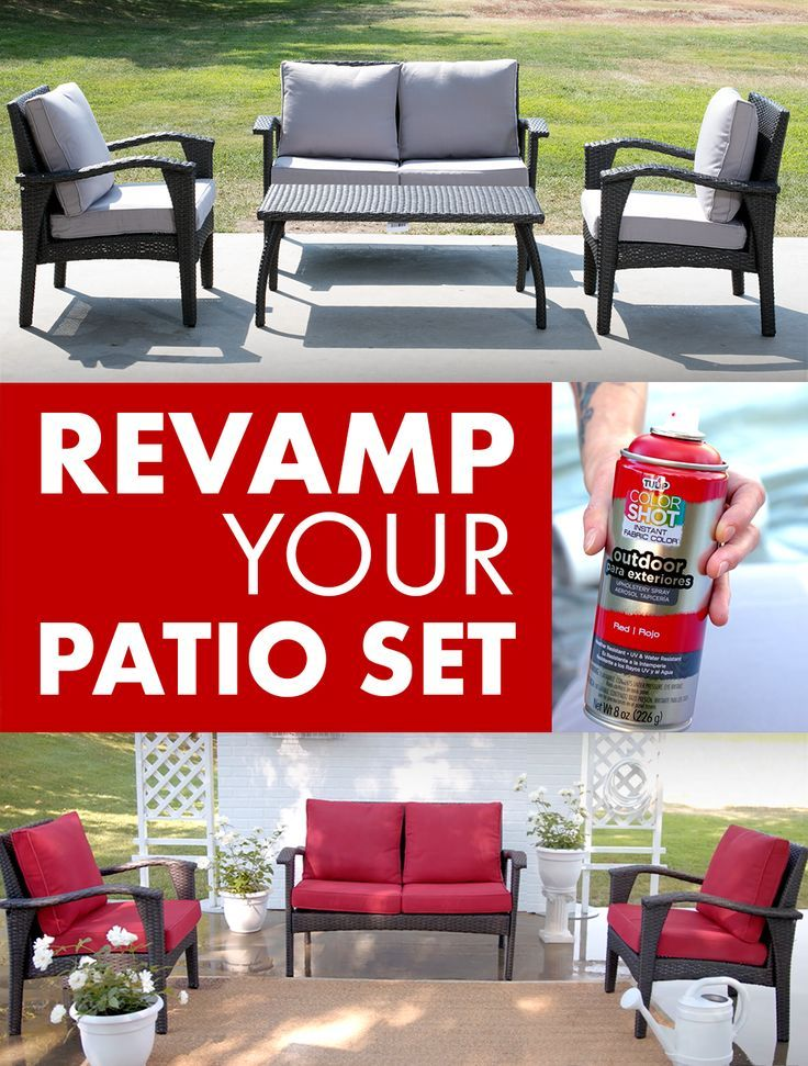 Take Last Year S Patio Set From Drab To Fab With Colorshot Outdoor Uv And Weather Resistant Fabric Spray Outdoor Fabric Spray Outdoor Furniture Sets